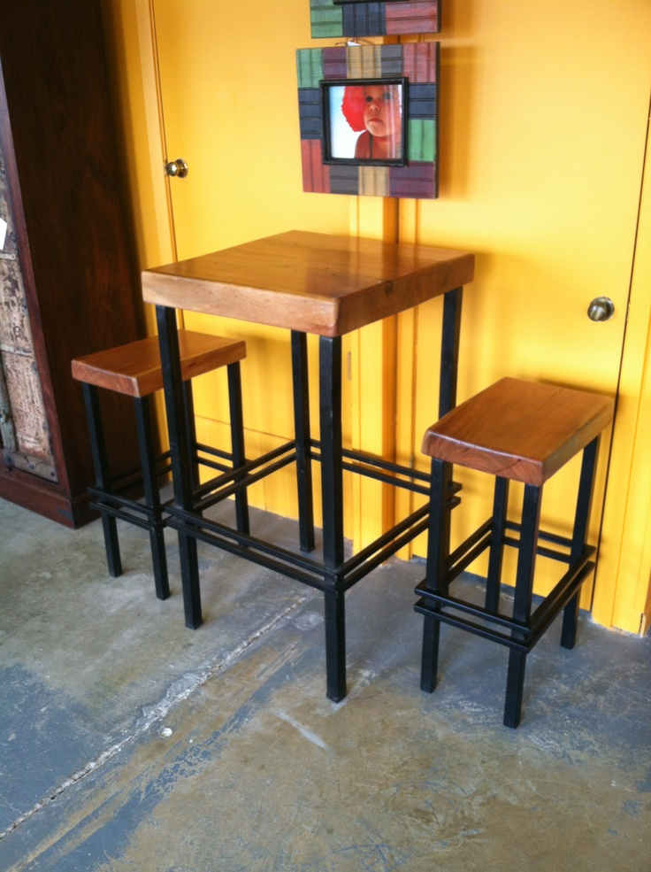 Pub Table And Stools With Iron Base And Natural Edge Cypress As Table Top  And Seats. Available At The Green Door Company In Oxford, MS