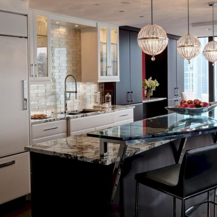 Kitchen Island Raised Glass Bar