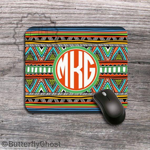 Personalized Southwestern pattern Mousepad, Tribal Aztec pattern monogrammed desk accessory - 006