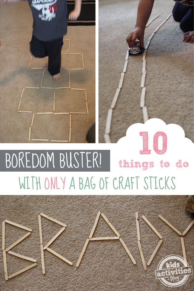 Kids stuck inside due to weather?  Here are WAY more than 10 Fun Indoor Activities with Only A Bag of Craft Sticks!