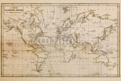 mata magnetyczna Stary wyciągnąć rękę rocznika mapie świata