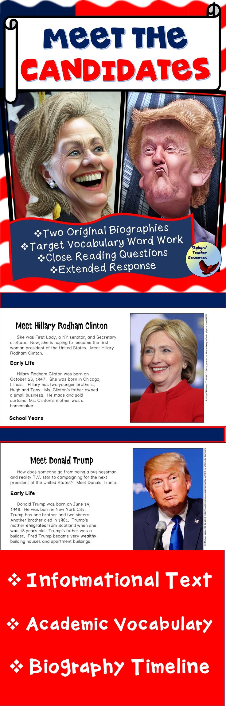 The 2016 Presidential Election is here!  Use these non-fiction reading passages, vocabulary activities, and timeline graphic organizers to provide background knowledge about the two leading presidential candidates – Hillary Clinton and Donald Trump.