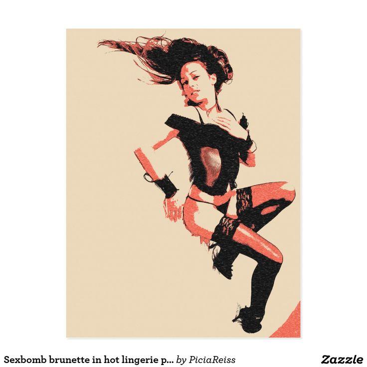 Sexbomb brunette in hot lingerie postcard 2