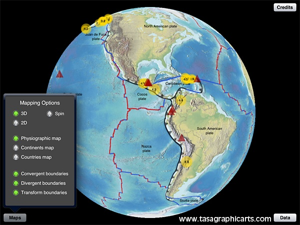 You can view all of the information in the 2D map view or the 3D map view in the Earthquake Finder app by Tasa Graphic Arts. Illustrated by Dennis Tasa. Earth science, geology, earthquake, volcano, and plate tectonic boundary app with 3D or 2D world maps of recent earthquakes. Available for the iPad and Android.