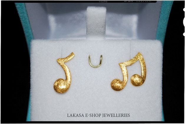 Stud Earrings – Music Earrings Silver 925 Gold-Plated Jewelry – a unique product by Eleytheria on DaWanda