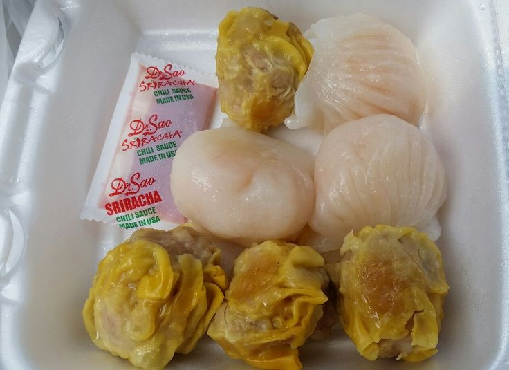 Here's some Yummy Dim Sum (To-Go) in the form of some Har Gow (Steamed Shrimp in Rice Paper - The 3 White Colored Ones) & Siu Mai (Steamed Pork in Rice Paper - The 4 Yellow Colored Ones) from the Dim Sum Express Chinese Fast Food Restaurant at the Former Fong's Dim Sum 24-hr. Restaurant on N. Garfield Ave. & W. Emerson Ave. in The Los Angeles San Gabriel Valley City of Monterey Park, California.