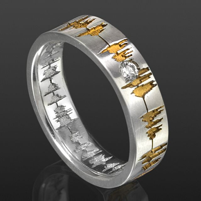 Soundwave Band Ring    Sterling silver Band Ring With Custom Soundwave Recording Accented In Gold      Price available upon request
