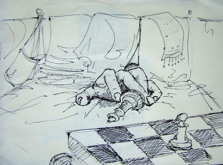 """""""Сфинкс сказал, что согласен на ничью. — Давно пора, — отозвался мягкий голос из-за спинки кровати. Раздвинув висевшие на ней сумки и пакеты, к нам взобралась белая, длиннопалая рука, перевернула доску и начала собирать в нее шахматные фигурки."""" By Hasselnott http://www.diary.ru/~greyhouse/p114972647.htm"""