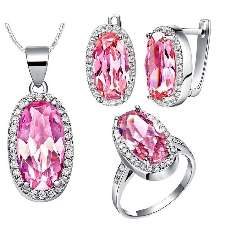Чистое серебро 925 африканский розовый горный хрусталь комплект свадебных ювелирных изделий для женщины серьги кольцо ожерелья и подвески комплект T436купить в магазине ULOVE Fashion JewelryнаAliExpress