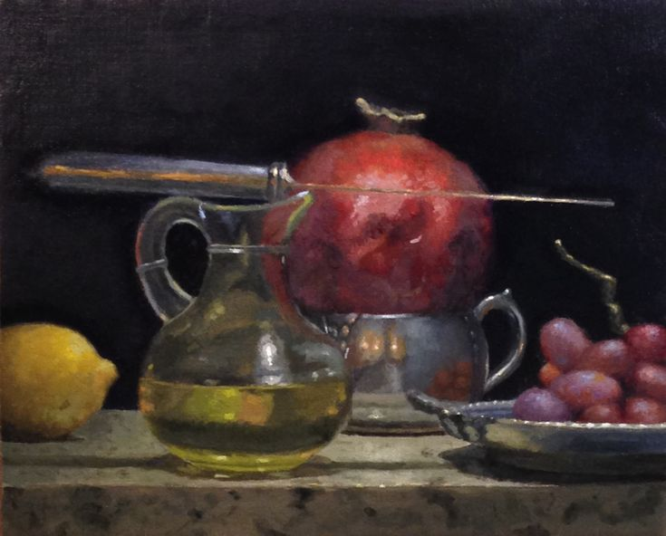 """Jeffrey Hayes: """"The Court of the Pomegranate King"""", oil on panel, 8×10 inches. Part of my year-long project to produce one painting like this every week."""