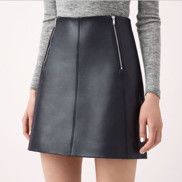 FWSS Easy Easy A-line mini skirt in bonded lamb nappa leather with felled seams and silver metal zipper detail at the front.