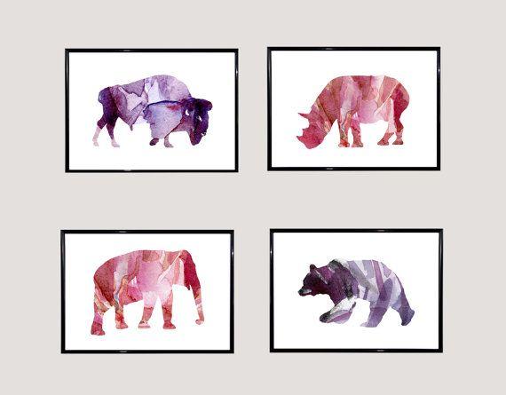 Neushoorn olifant beer bizon illustratie  door Lemonillustrations