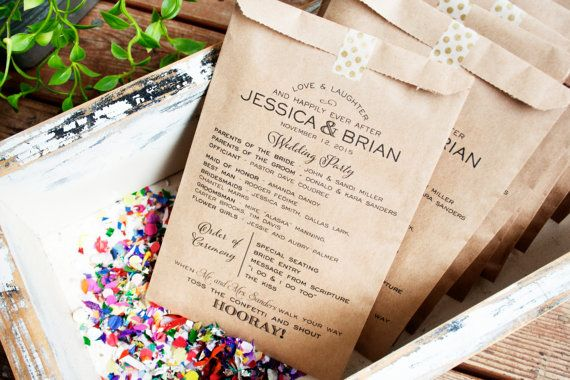Tossing Confetti? Double up a toss bag and program. This listing is for 25 unstuffed kraft program bags. Buy as many packs as you need. Font and black ink