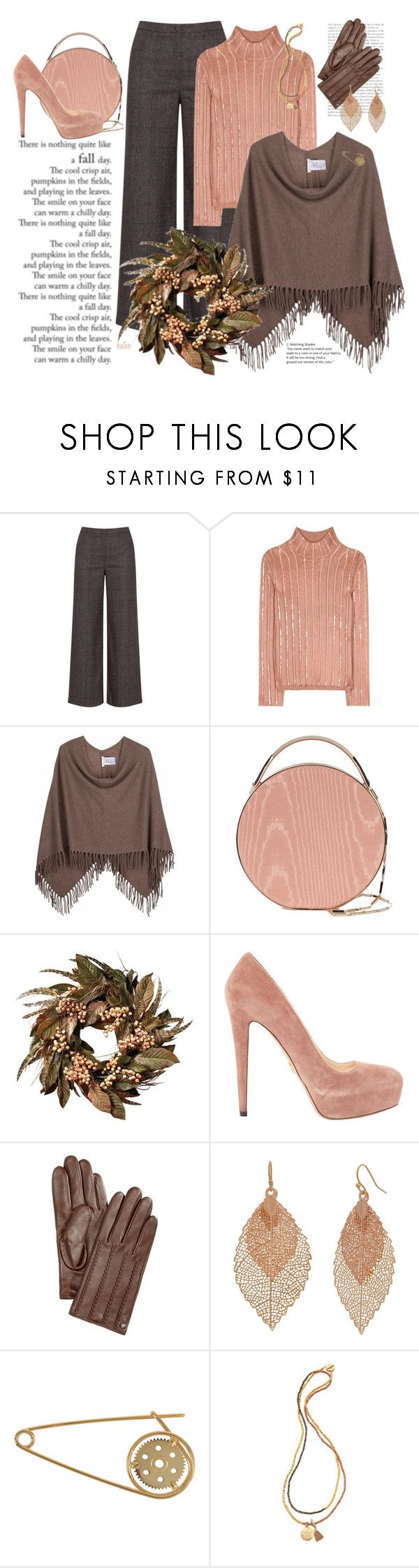 """Perfect Autumn Poncho"" by kateo ❤ liked on Polyvore featuring navabi, Nina Ricci, Minnie Rose, Eddie Borgo, Nearly Natural, Prada, Lauren Ralph Lauren, Bold Elements, Loewe and Lindsay Vallan"