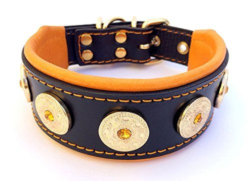 Bestia Bijou collar studded HANDMADE french bulldog bulldog terrier german shepherd 2 inch wide 100 leather perfect fit soft padded medium sized Made in Europe >>> To view further for this item, visit the image link.