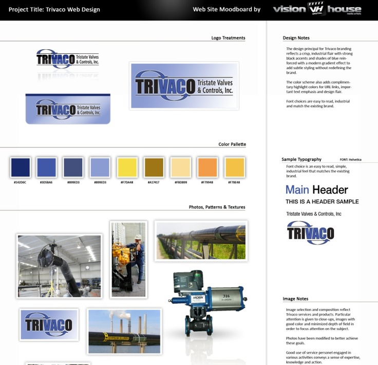 """Another moodboard for """"Trivaco""""; more web site and branding work.  See more..."""