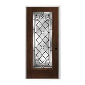 Pella 1-Panel Insulating Core Full Lite Left-Hand Inswing Prestained Dark Mahogany Fiberglass Stained Prehung Entry Door