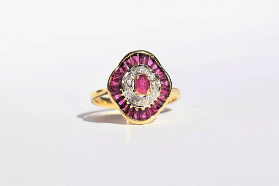 Vintage Art Deco Ruby and Diamond Ring Vintage Ruby Engagement