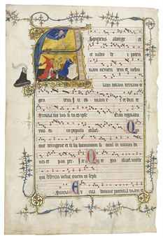 THE ANNUNCIATION, large historiated initial 'A' on a leaf from the Temporal, ILLUMINATED MANUSCRIPT ANTIPHONAL ON VELLUM