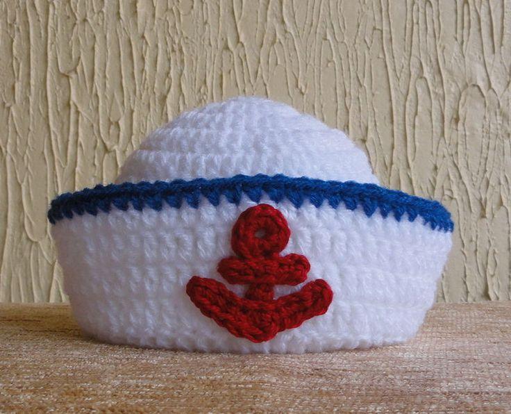 Touca em crochê MARINHEIRO - Fotos em estúdio com recém-nascidos (Newborn) - Bebê Bonito Crochê