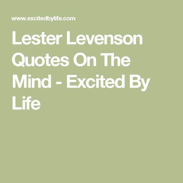 Lester Levenson Quotes On The Mind - Excited By Life