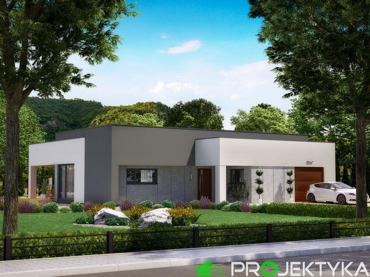 ❄️Nowoczesny projekt domu parterowego z garażem❄️ Ka46 http://bit.ly/projekty_do_120m2 ▪️otwarta kuchnia ze spiżarnią ▪️pralnia prowadzi do garażu przez pomieszczenie gospodarcze ▪️zadaszone wejście oraz taras