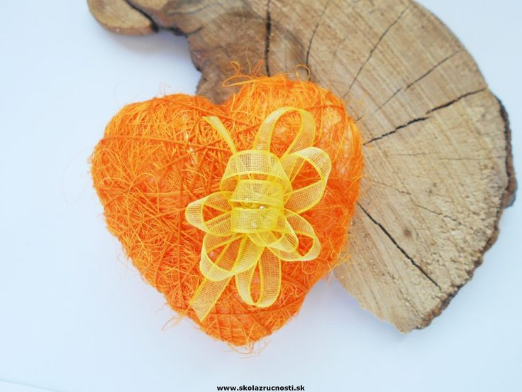 srdce polystyrén sisal styro heart orange