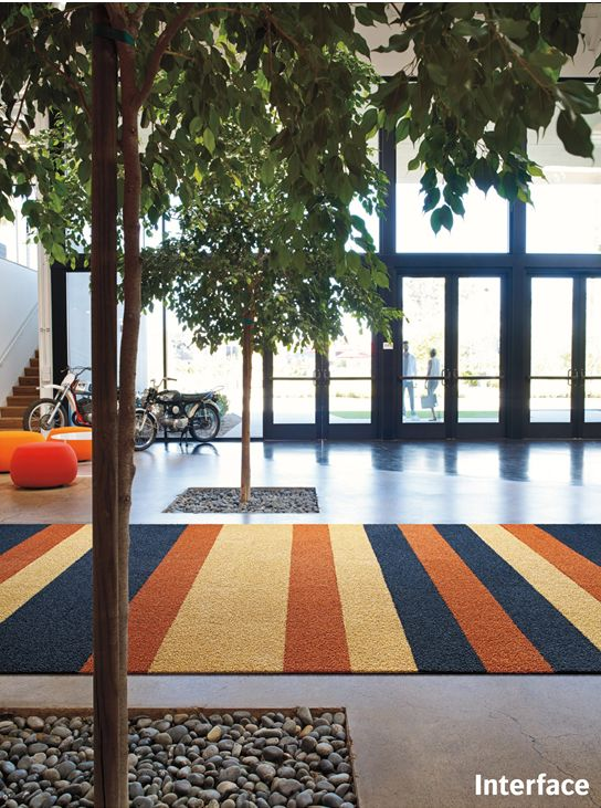 Energize interior spaces with bold colours and stripes of varying width