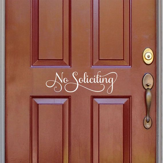 No Soliciting sign front door decal no solicitation vinyl
