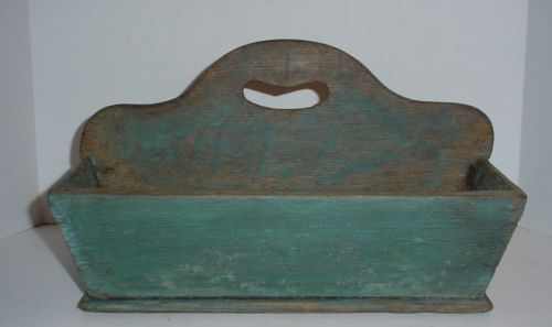14in long x 9in tall (to top of handle) Antique 19th C Wooden Tote Cutlery Tray Knife Box Tray Dovetails Old Blue Paint