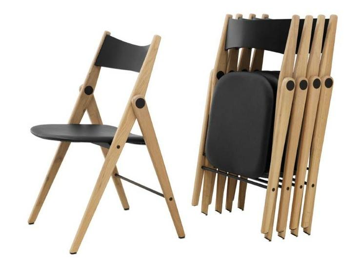 Silla plegable oslo de piel regenerada negra for Modern dining chairs pinterest