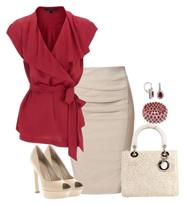 """""""red ruffles"""" by lisamichele-cdxci ❤ liked on Polyvore featuring Donna Karan, Christian Dior, Yves Saint Laurent, La Preciosa and Coast"""