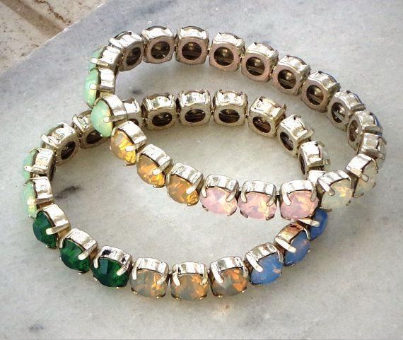 Two stretchy Swarovski elements bracelets by CrystallizedByLena, $50.00