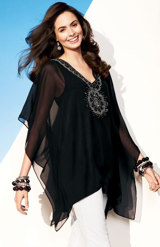 Breezy & beaded: reason enough to love our Ginger Peri Poncho #9to5abulous #chicos