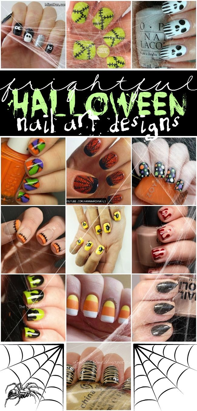 Halloween Nail Art Designs... Great way to add a little holiday fun to your everyday outfits.