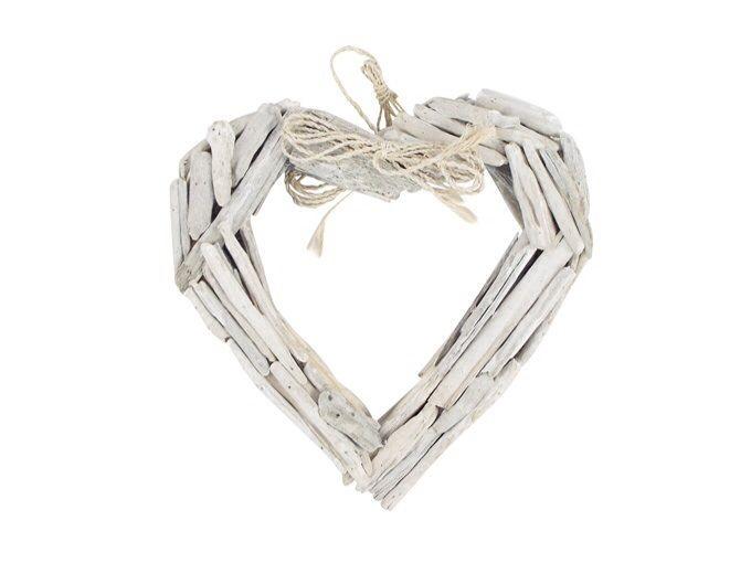 Whitewash driftwood heart