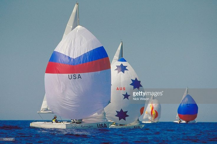 Jeff Madrigali, Craig Healy and Hartwell Jordan of the USA race Neville Whitey, Joshua Grace and David Edwards of Australia in the Open Soling Fleet Race in Rushcutters Bay on Day Four of the Sydney 2000 Olympic Games in Sydney, Australia.\ Mandatory Credit: Nick Wilson /Allsport