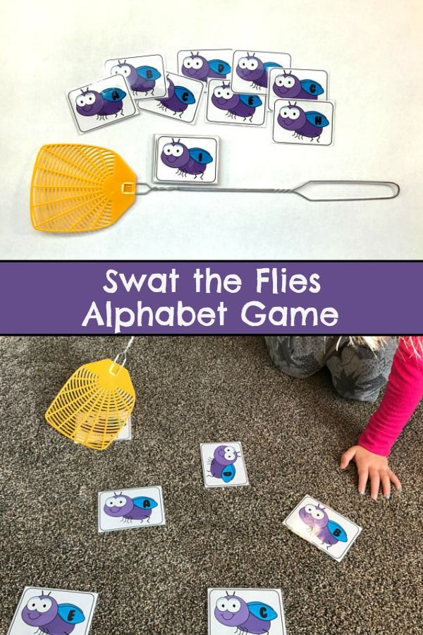 Swat the Flies Alphabet Game, Letter Sounds, Learning Letters #preschool #preschoolers #prek #alphabet #abc #busybags #affiliate