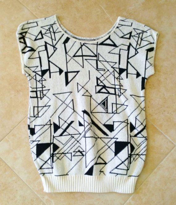 Vintage 80s Op Art SS Sweater Fashion Ave by IveGoneModVintage, $19.00