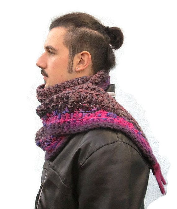 Crochet  Men's Scarf Chunky Scarf for Men Unisex by KrissWool