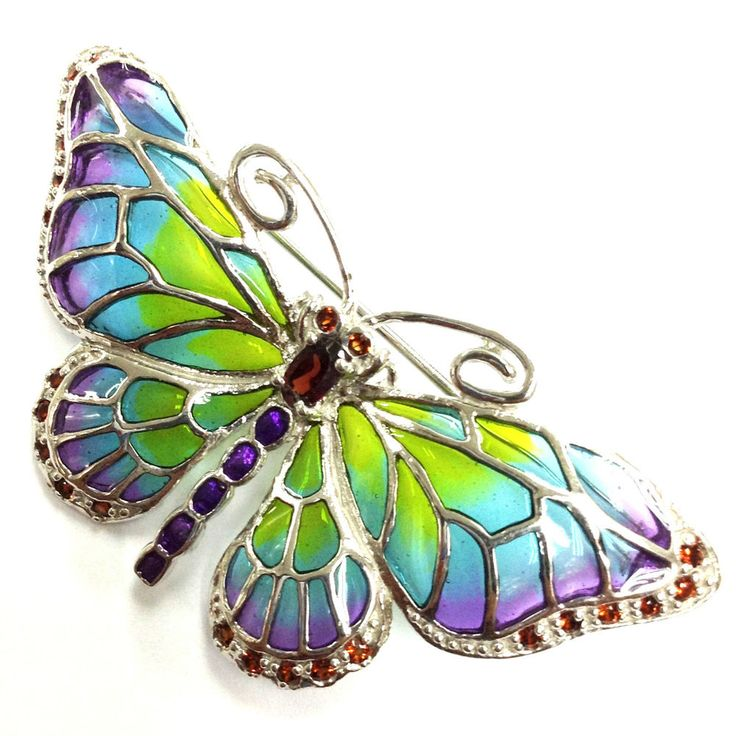 Art Nouveau Solid Silver Marcasite & Plique Du Jour Enamel Butterfly Brooch in Jewellery & Watches, Fine Jewellery, Fine Brooches & Pins | eBay