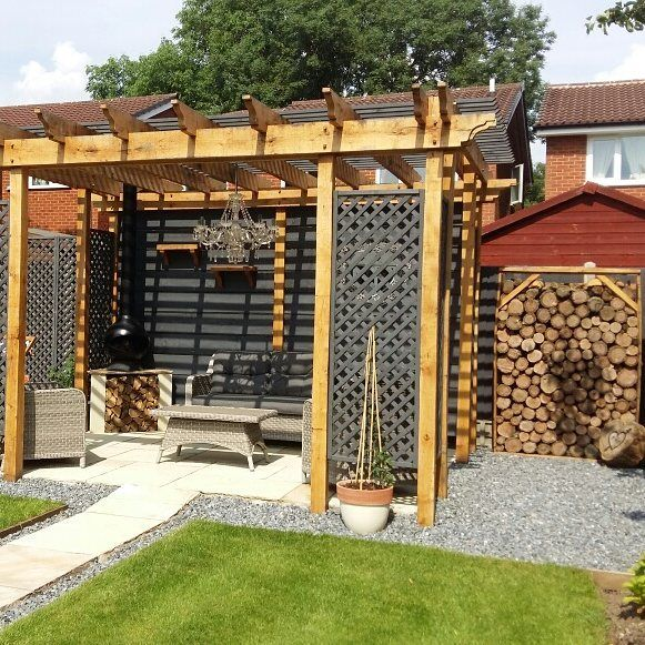 I so wish I'd have taken a before photo of this 🙈. A massive shed used to be where the logs are and it was so dangerous, asbestos sheets were being stored behind it. Looks a little different now Adam got his hands on it #handmade #cleverhusband #gardendecor #styleithappy #myhomevibe #sassyhomestyle