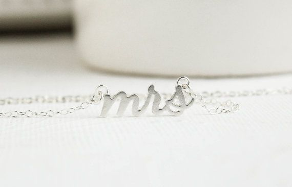 Mrs Necklace, Silver Mrs Necklace, Soon to be Mrs, Bridal Shower Gift, Bridal Jewelry, Wedding Jewelry