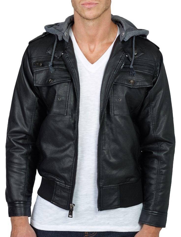 Mens hooded leather jacket cheap – Modern fashion jacket photo blog