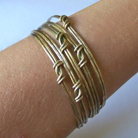 Brass Bangles - Bangle Bracelets - Metalwork Set of 3 Hammered DOUBLE LAYER - Made to Order