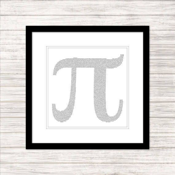 Pi infilled with decimal Pi - Black on White - Wall Art, Poster - Instant Download