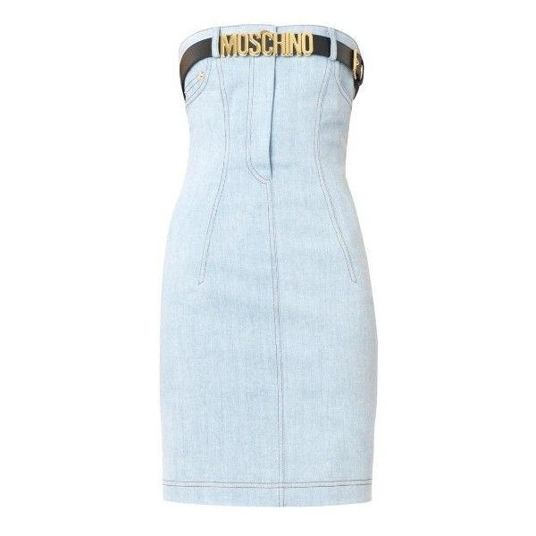 MOSCHINO Strapless belted denim dress ($622) ❤ liked on Polyvore featuring dresses, light blue, blue cocktail dress, embellished cocktail dress, belted dress, stretch dress and denim dress
