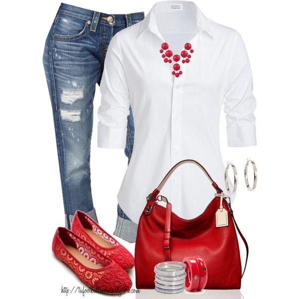 vaquero, camisa blanca, zapatos rojos y bolso rojo
