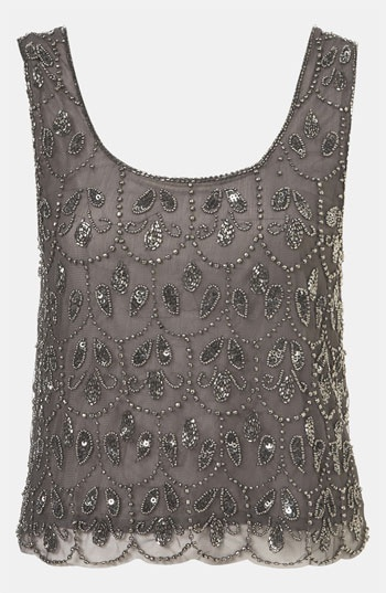 With a black sheer top underneath won't be so cropped. Topshop Embellished Crop Tank available at #Nordstrom