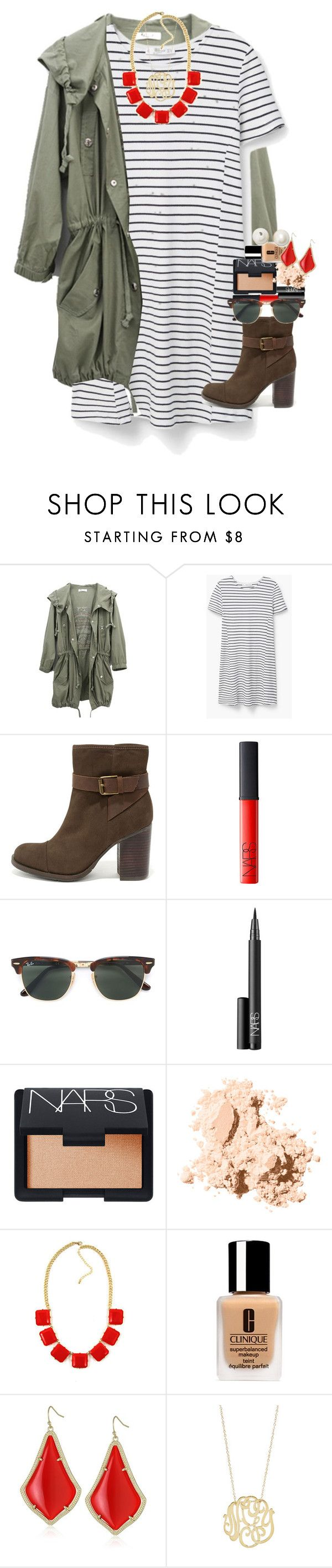 """throwback to fall"" by smbprep ❤ liked on Polyvore featuring MANGO, MIA, NARS Cosmetics, Ray-Ban, Bobbi Brown Cosmetics, Clinique, Kendra Scott, Ginette NY and Kate Spade"